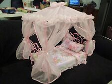 "Pink doll canopy bed fits bitty baby or other 13"" dolls"