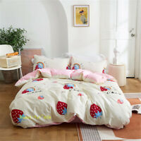 White Strawberry Double/Queen/King/Single Bed Quilt/Doona/Duvet Cover Set Cotton
