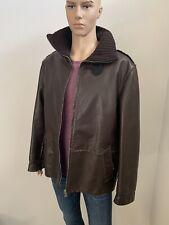 Dolce & Gabbana Dark Brown Leather Jacket Men's Size 50