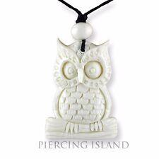 Eule Owl Amulett Anhänger mit Band Halskette Bone Knochen PB359