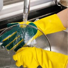 2PCS Scrub Gloves Dish Washing Cleaning Silicone Rubber Soft Scouring Kitchen US