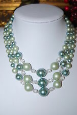 VINTAGE JAPAN 3 STRAND NECKLACE FAUX ACRYLIC GREEN TONED PEARLS & GLASS CRYSTALS
