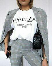 Ladies Ye Yves Saint Love West Vogue Coco Slogan Print Short Sleeve T-Shirt Tops