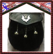 Escarcela Kilt SILBATO escudo negro piel de Conejo 3 Borlas Cromo Semi Vestido