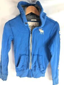 Abercrombie Kids Boys size L Blue Muscle Sweatshirt Hoodie Full Zip