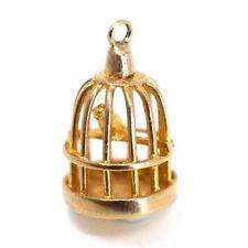 GOLD 9ct Hallmarked.375 Bird Cage Vintage Charm Bracelet pendant Gift Birthday