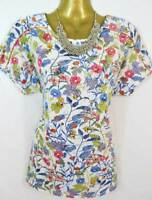 Per Una white flower print jersey t shirt top with gold trim NEW size 8 12 20