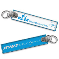KLM-B787 Dreamliner Woven Keyrings x2
