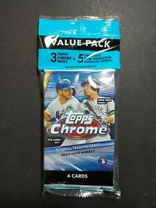 2020 Topps Chrome Baseball Cello Value Pack + 5 Exclusive Pink Refractors Pack
