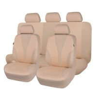 Car Seat Covers Set Polyester Hot Stamp Seat Protectors Washable SUV VAN TAN