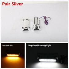 Pair Chrome Bar Switchback Driving Light White Amber LED For Crash Bar For Motor