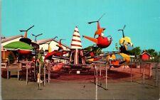 Fantasy Island Grand Island, New York Helicopter Ride Vintage Chrome Postcard B9