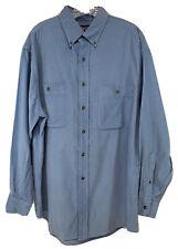 Men's LANDS END Blue Corduroy Long Sleeve Button Front Shirt Sz (M)