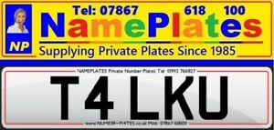 T4 LKU, TALK YOU, Cherished Number, Private Plate,, Personal Registration