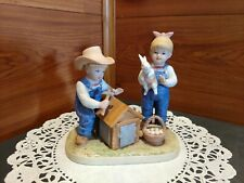 "1999 Homco ""Denim Days"" #1514 ""Bunny'S Hutch"" Figurine"