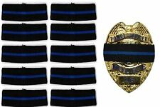 10-pack Thin Blue Line Stripe Black Police Officer Badge Shield Funeral Honor
