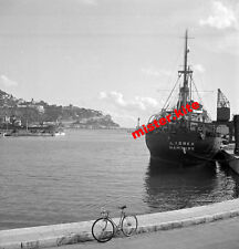 Foto-negativ-1930-Nizza-Nice-Hafen-frachtdampfer lasbek hamburg-Kran-Technik-5