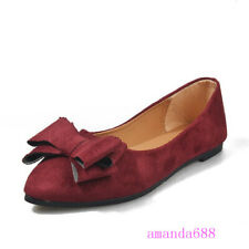 Women's Faux Suede Comfort Flats Shoes Bowknot Slip on Workwear Pumps Loafers Sz