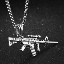 Halskette mit Anhänger Geschenk Edelstahl Herrenschmuck ASG Büchse Gewehr Waffe