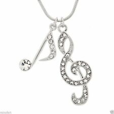Treble Clef Note Made With Swarovski Crystal Song Music Pendant Necklace Jewelry