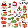32X Christmas Santa Party Masks Decor Fun Selfie Photo Booth Props Xmas Supplies