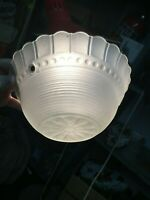 Vintage   frosted  white  Ceiling Light Glass Globe Shade Chic 3 chain