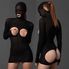 SEXY KURZ BODY CATSUIT TRANSPARENTE MINI DRESS BLACK DESSOUS LONG SLEEVE