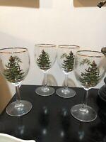 "Set of 4 Spode Christmas Tree Wine Glasses Stemware 7 1/4"" Tall"