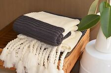 Charcoal and Cream Chunky Knit Throw Bed Sofa Couch Rug Blanket 127 x 152CM