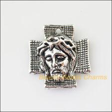 2Pcs Tibetan Silver Tone Jesus Cross Charms Pendants 22x23.5mm
