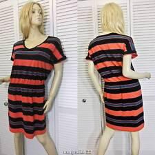 NWT $195 DKNY DONNA KARAN NY DRESS MEDIUM STRIPED PULL ON STRETCHY COTTON