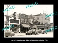 OLD LARGE HISTORIC PHOTO OF LINCOLN PARK MICHIGAN, THE MAIN STREET & STORES 1950
