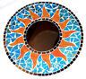 Miroir en Mosaïque 30 cm Glace Bois Soleil Artisanat Mosaic Mirror Sun bleu