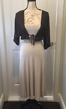 NWT Dunia Beige Shortsleeve Dress Beaded Waist & Brown Shrug Small 2 Pieces!!