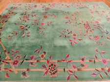 Chinese Rug Antique Art Deco Oriental 9x12 floral wool Green purple Very Unique!