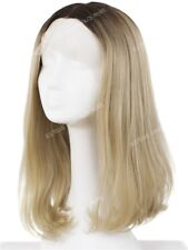 Rooted Light Golden Blonde Layered Bob 4.5 inches Middle Part Lace Front Wig