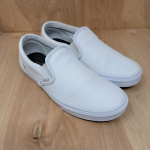 Vans Mens Slip On Casual White Canvas Solid Round Toe Loafers Shoes Size 9