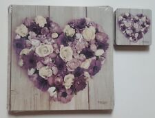 NEW SET OF 4 GREY PURPLE FLOWER LOVE HEART TABLE PLACEMATS 4 COASTERS PLACE MATS