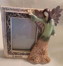 "Vintage Faith Angel  Picture  Photo  Frame 4 x 6""Resin Frame Size 9"" Tall & 8""W"