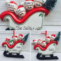 Personalised Family Christmas/Xmas Tree Decoration/ornament SLEIGH size 2,3,4,5