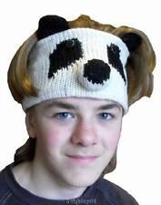Sweat Head Band Panda Novelty Hand Knit 100% Wool Knit Polyfleece Lined 48 cm