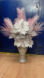 WHITE SILVER ROMANY 30cm VASE WITH FLOWERS SILVER CRUSH PINK FEATHERS