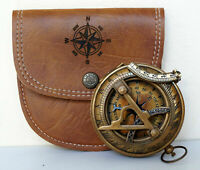 Nautical brass sundial pocket compass with leather case vintage christmas gift