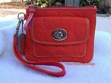 COACH Orange Quilted Fabric Zip Top Small Wristlet Clutch Purse TurnLock Pocket