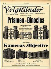Voigtländer & Sohn Braunschweig Prismen-Binocles  Kameras u.Objektive Ad 1907