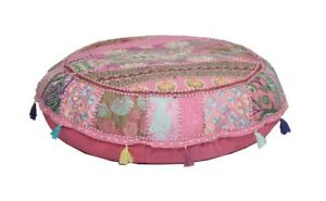 """16"""" Pouff Cover Indian Patchwork Handmade Footstool Vintage Round Ethnic Ottoman"""