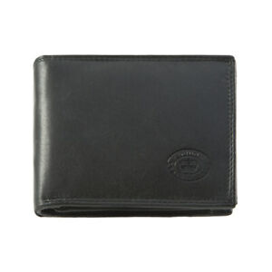 RFID Black Real Leather Bi Fold Mens Wallet // Centrefold Gents Leather Wallet