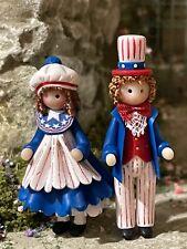 1:48 Miniature Dollhouse Artisan Julie Stevens Patriotic Couple Boy Girl Dolls