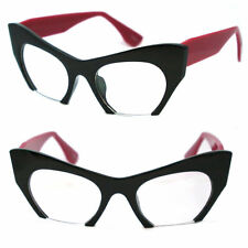 CLASSIC VINTAGE RETRO CAT EYE Style Clear Lens EYE GLASSES Half Cut Off Frame