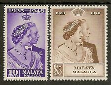 MALAYA MALACCA 1948 SILVER WEDDING SG1/2 MNH